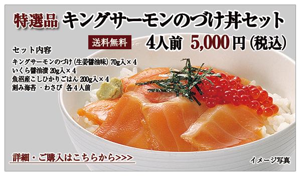 キングサーモンのづけ丼セット 4人前 5,000円(税込)送料無料